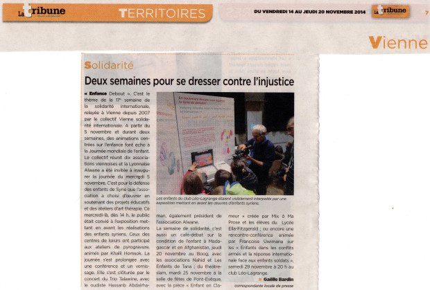 article Tribune de Vienne 14 novembre 2014