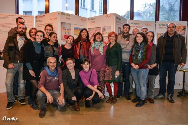 L'équipe de Migrant'Scène, ma Cimade, RESF, Alwane et la Compagnie L