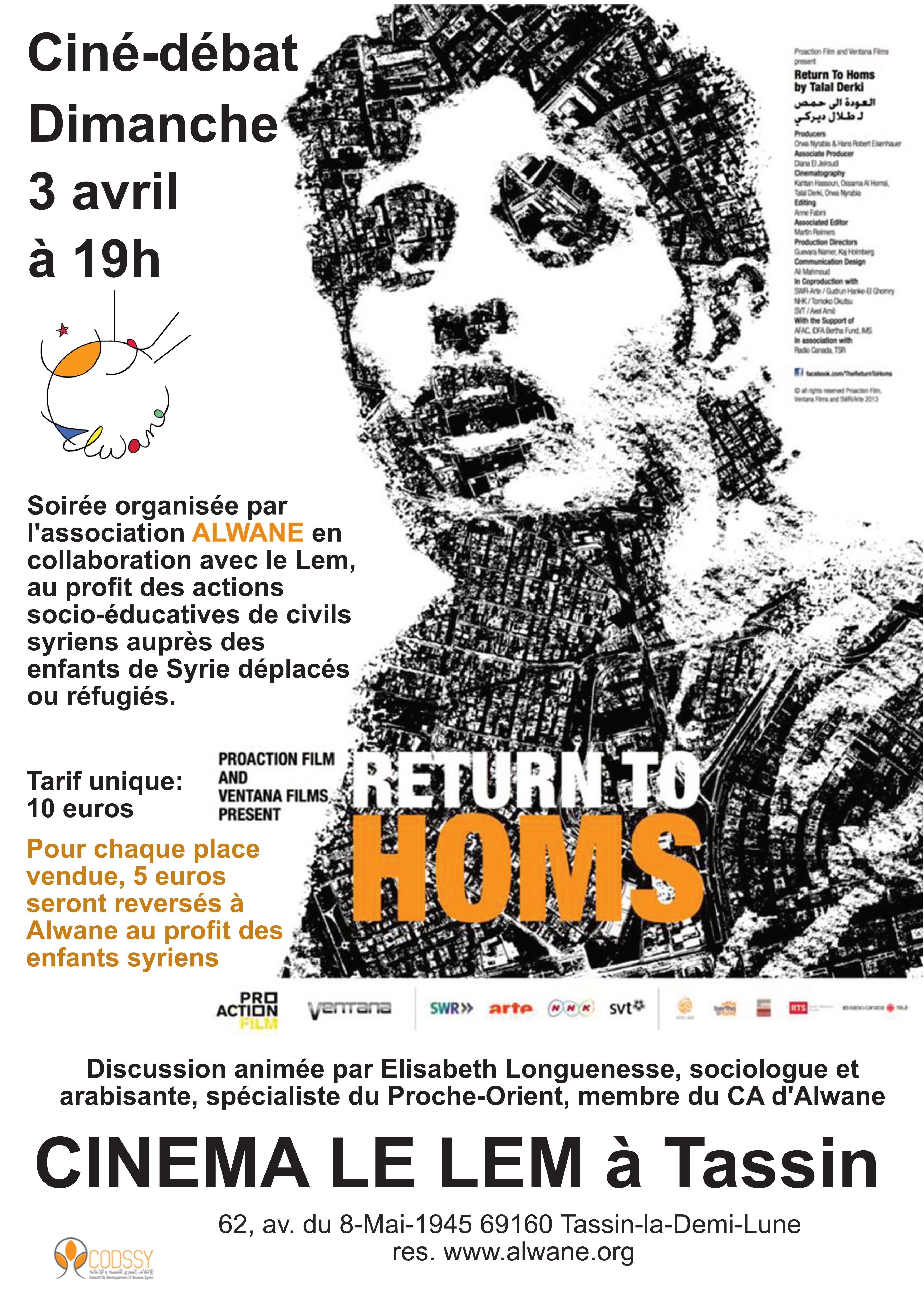 """Ciné-débat """"Retour à Homs"""" au cinéma Le Lem"""
