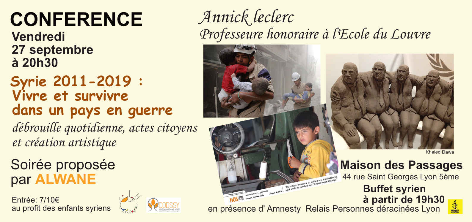 Conférence: Syrie 2011-2019, Vivre et survivre dans un pays en guerre