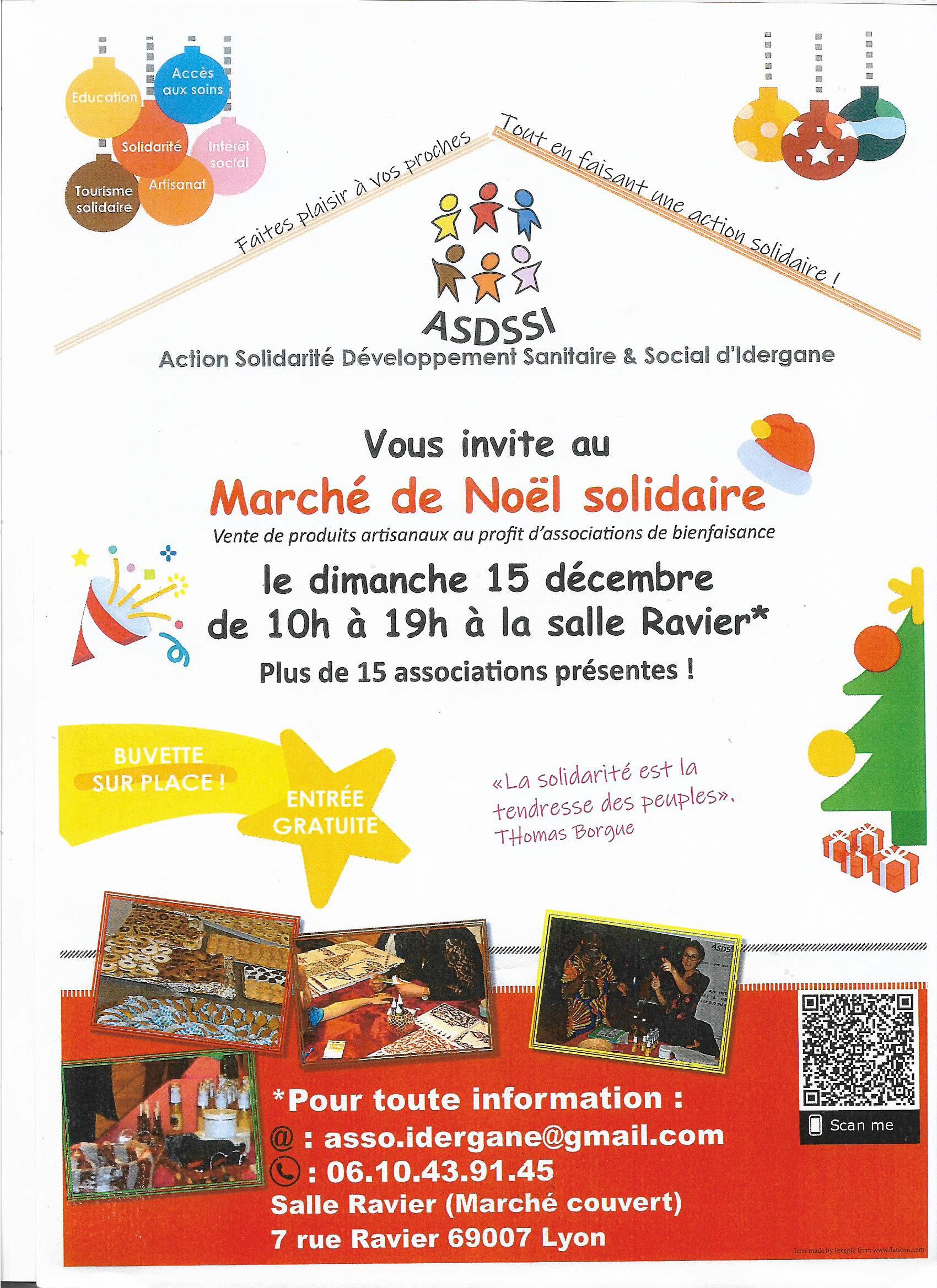 Marché de Noël associatif et solidaire organisé par l'ASDSSI