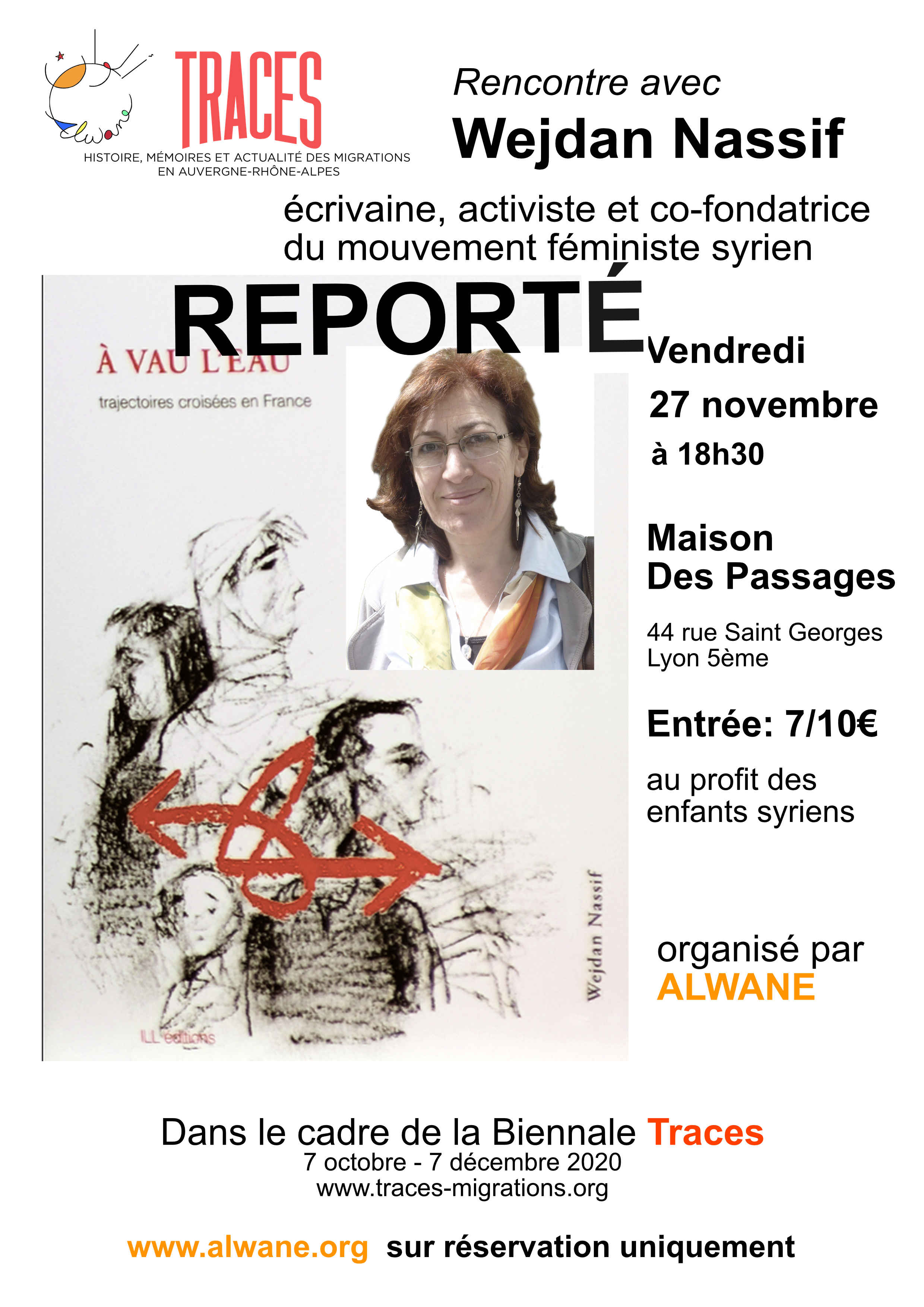 Reportée Soirée syrienne avec Wejdan Nassif, dans le cadre de la Biennale Traces