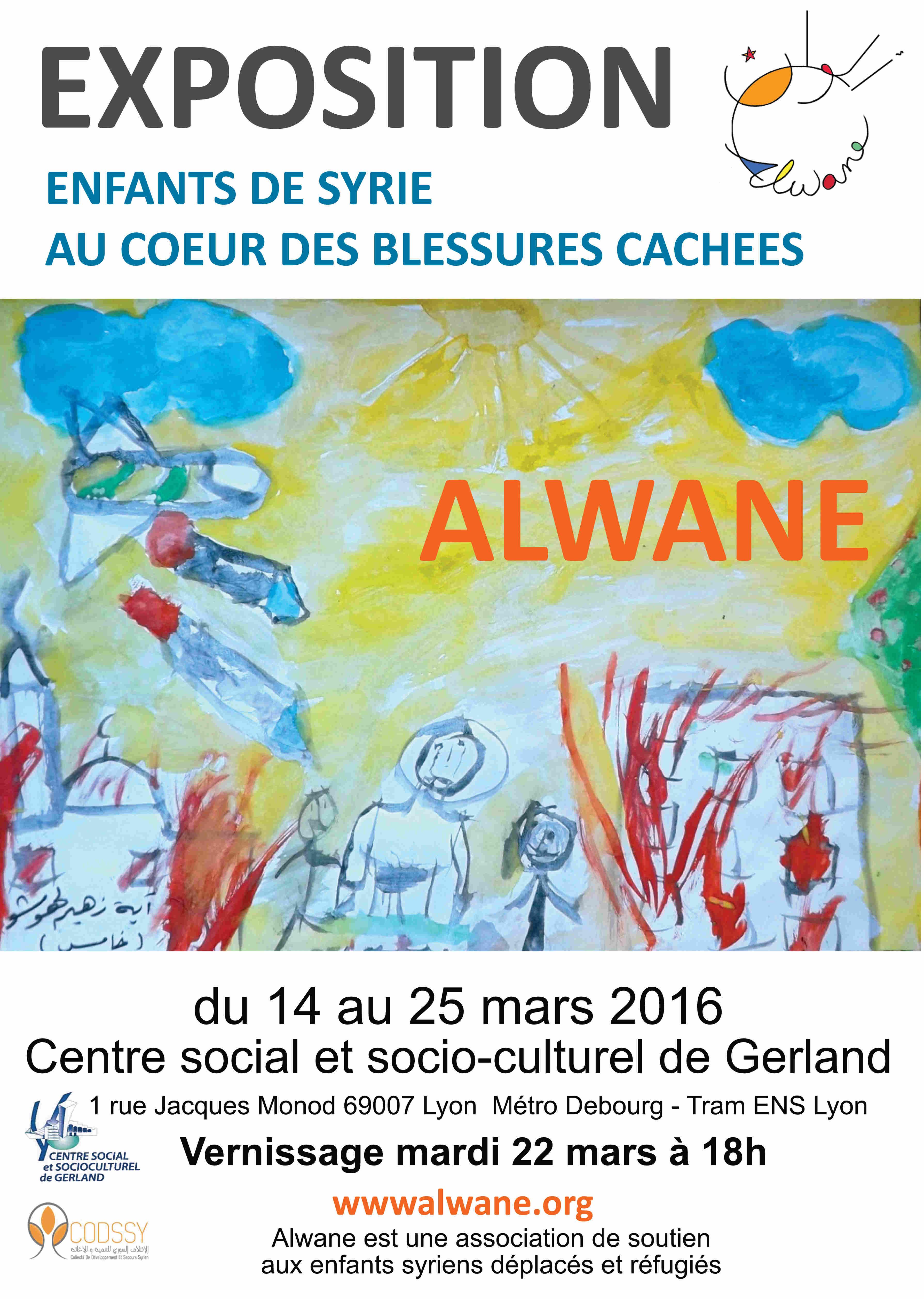 """Vernissage de l'Exposition """"Enfants de Syrie, au coeur des blessures cachées"""" au Centre social de Gerland"""