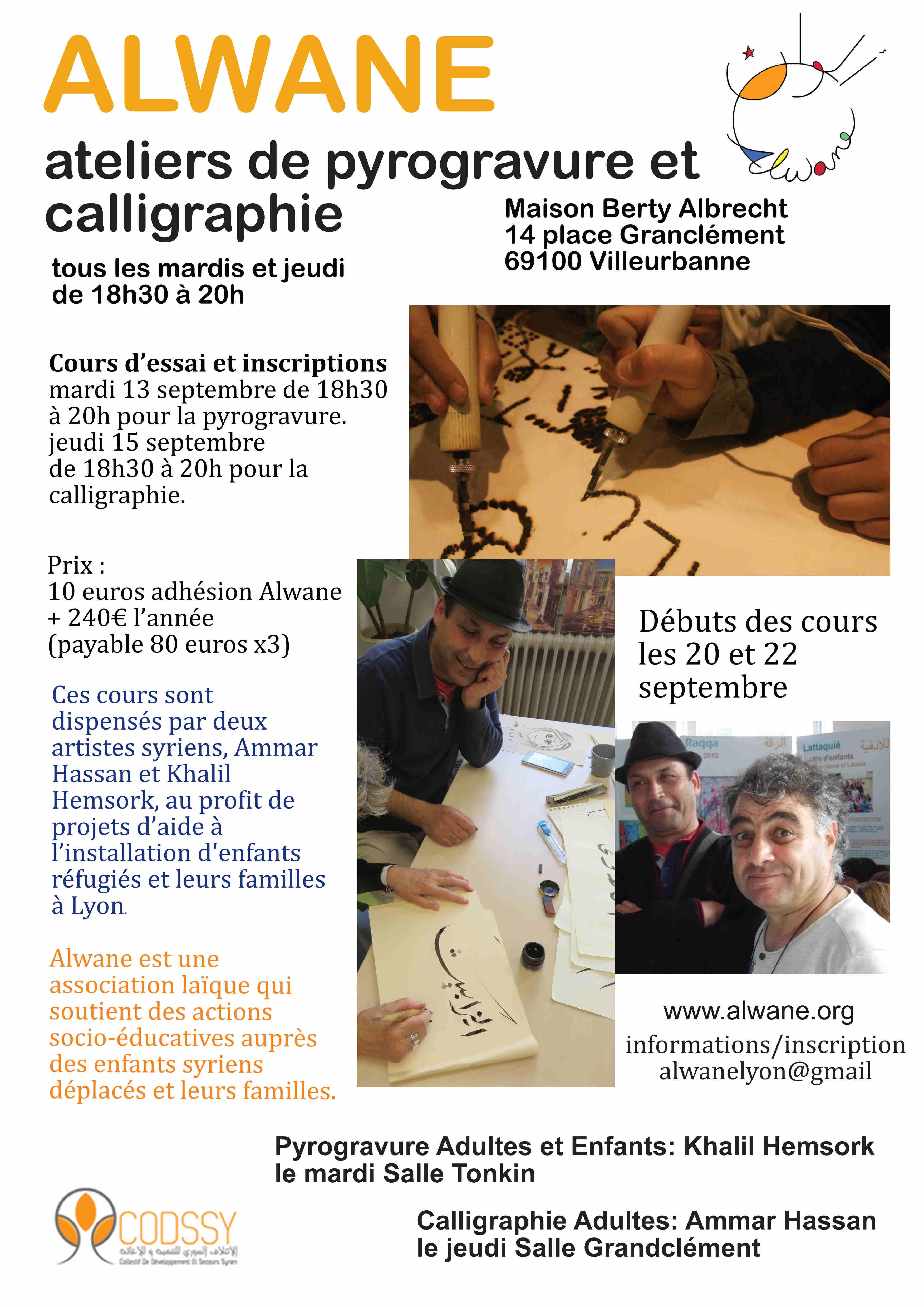 Activité 2016 ateliers de pyrogravure et de calligraphie