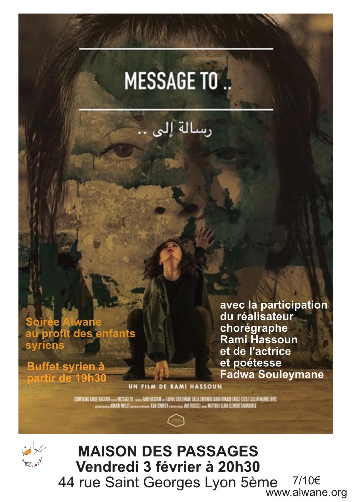 """""""Message To..."""" Soirée-Débat avec Rami Hassoun et Fadwa Souleymane"""