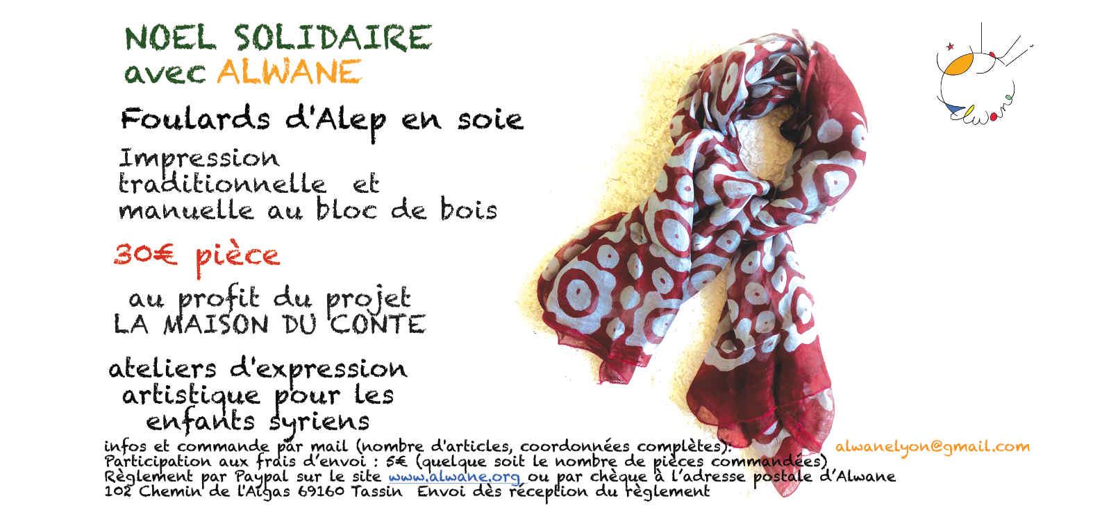 Noël Solidaire vente foulards d'Alep en soie